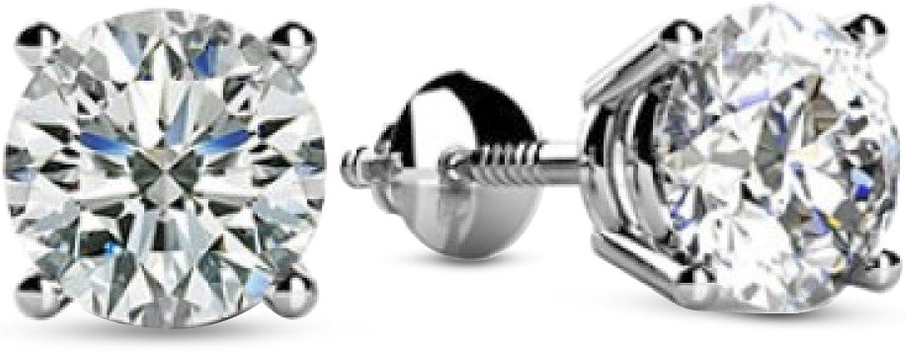 1//4 Ct Round Cut 14K White Gold Diamond Stud Earrings Ships Free!!!!!!!!!