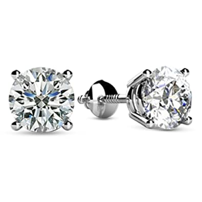 6cad28a71 2 Carat 14K White Gold Solitaire Diamond Stud Earrings Round Cut 4 Prong  Screw Back (