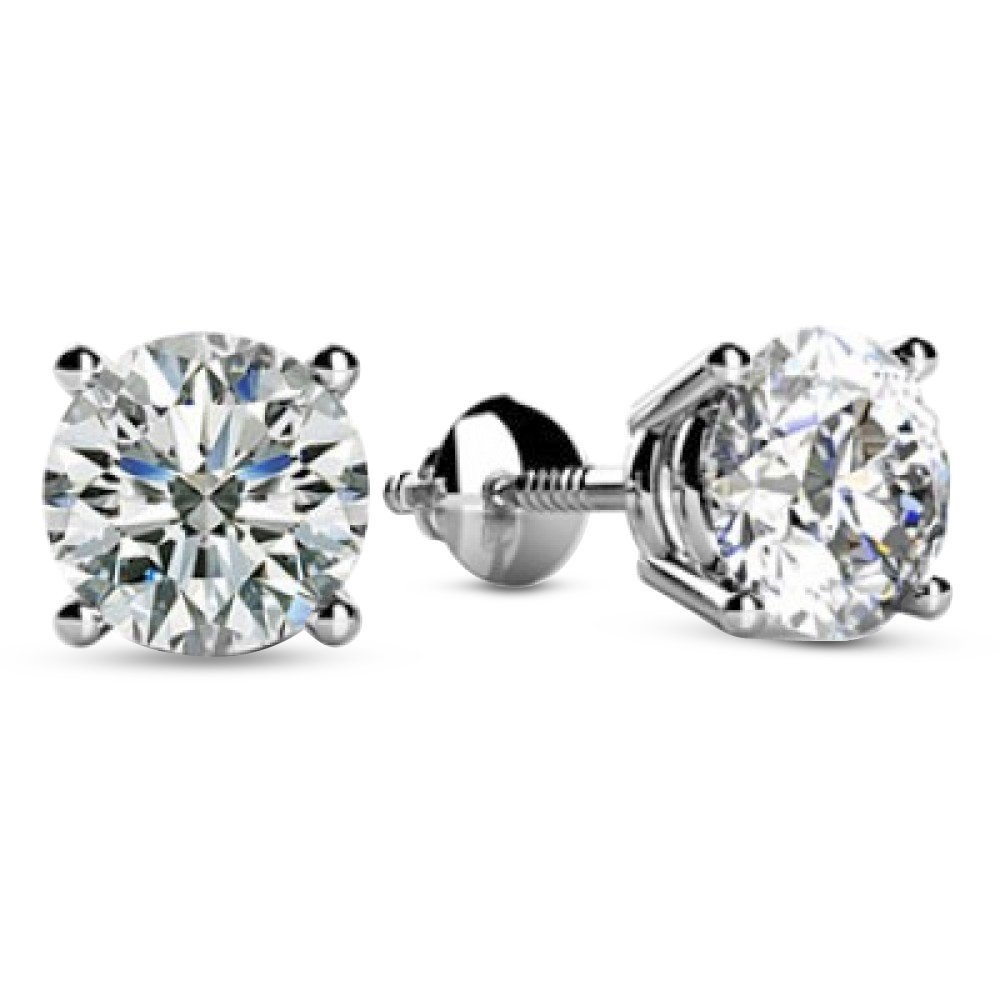 2 Carat Total Weight White Round Diamond Solitaire Stud Earrings Pair set in 14K White Gold 4 Prong Screw Back (H-I Color I1 Clarity)