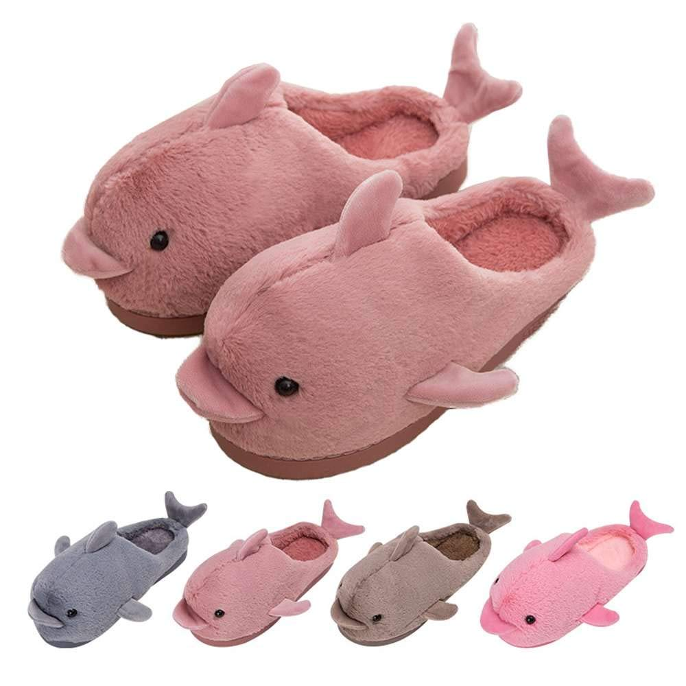 Home Slippers Cute Funny Dolphin Plush Womens Kids Soft Indoor Floor Shoes
