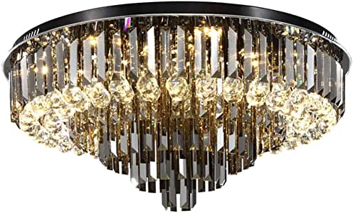 Ceiling Lighting Crystal Lamp Simple Modern Round Hall Lamp Living Room Decoration Lamp Atmospheric Led Ceiling Lamp Bedroom Lighting (Color : Black, Size : 50 * 35cm)