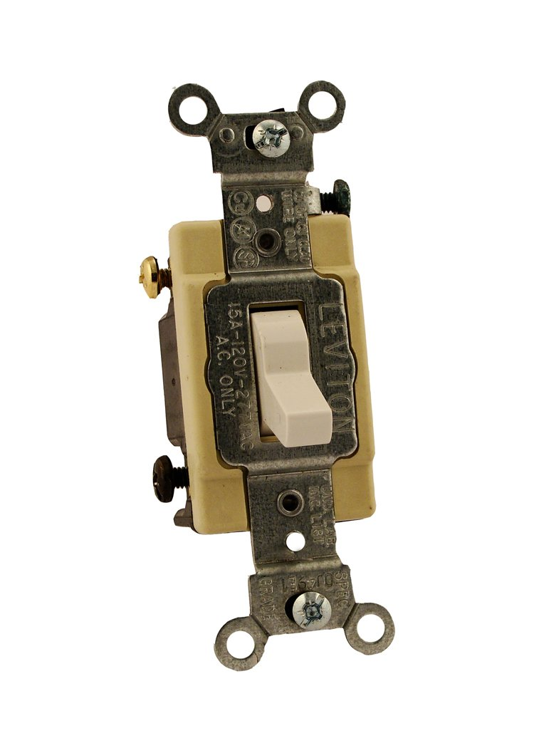 Leviton CS415-2W 15 Amp, 120/277 Volt, Toggle 4-Way Ac Quiet Switch, Commercial Grade, Grounding, White