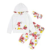 Baby Girl Clothes Hoodie Tops with Kangaroo Pocket,Flowers Pant + Headband Outfits Set, White, 12-18 Months (90cm)