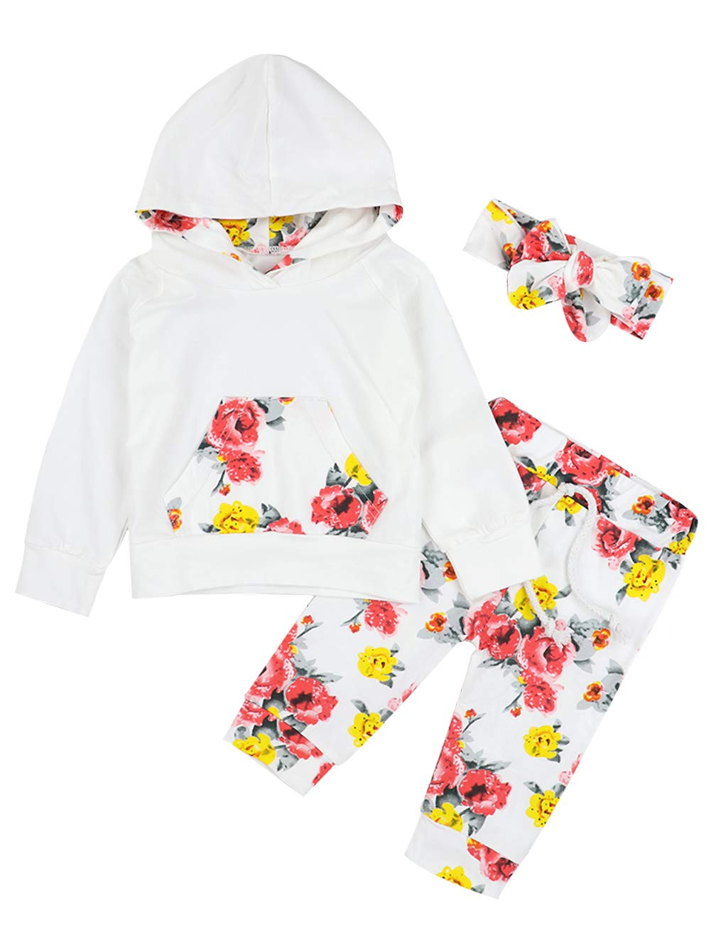 Baby Girl Clothes 0-6 Months Hoodie Tops with Kangaroo Pocket,Flowers Pant + Headband Outfits Set(0-3 Months)