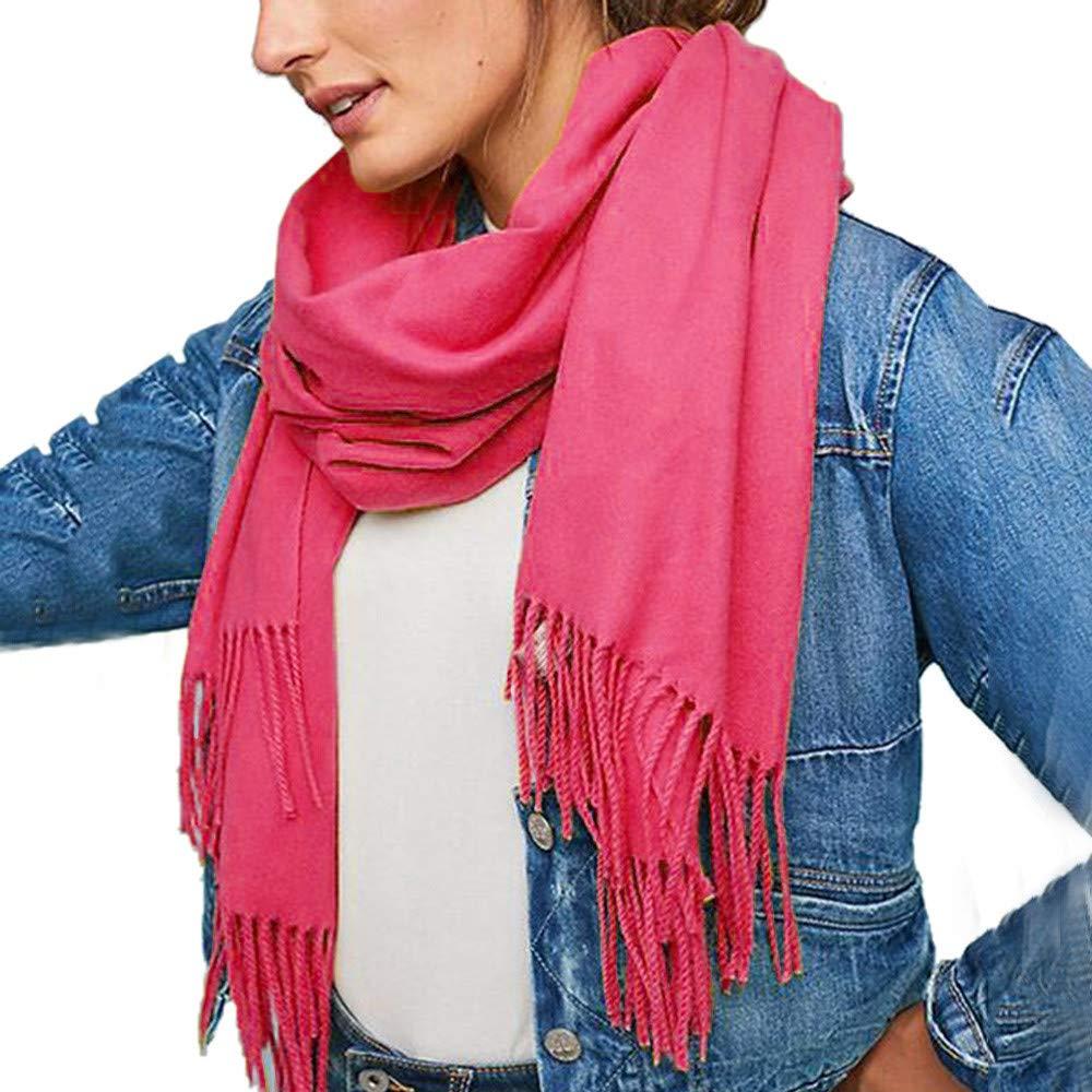 Jonecal Unisex Elegant Pure Color Pashmina Virgin Wool Cashmere Scarf Shawl