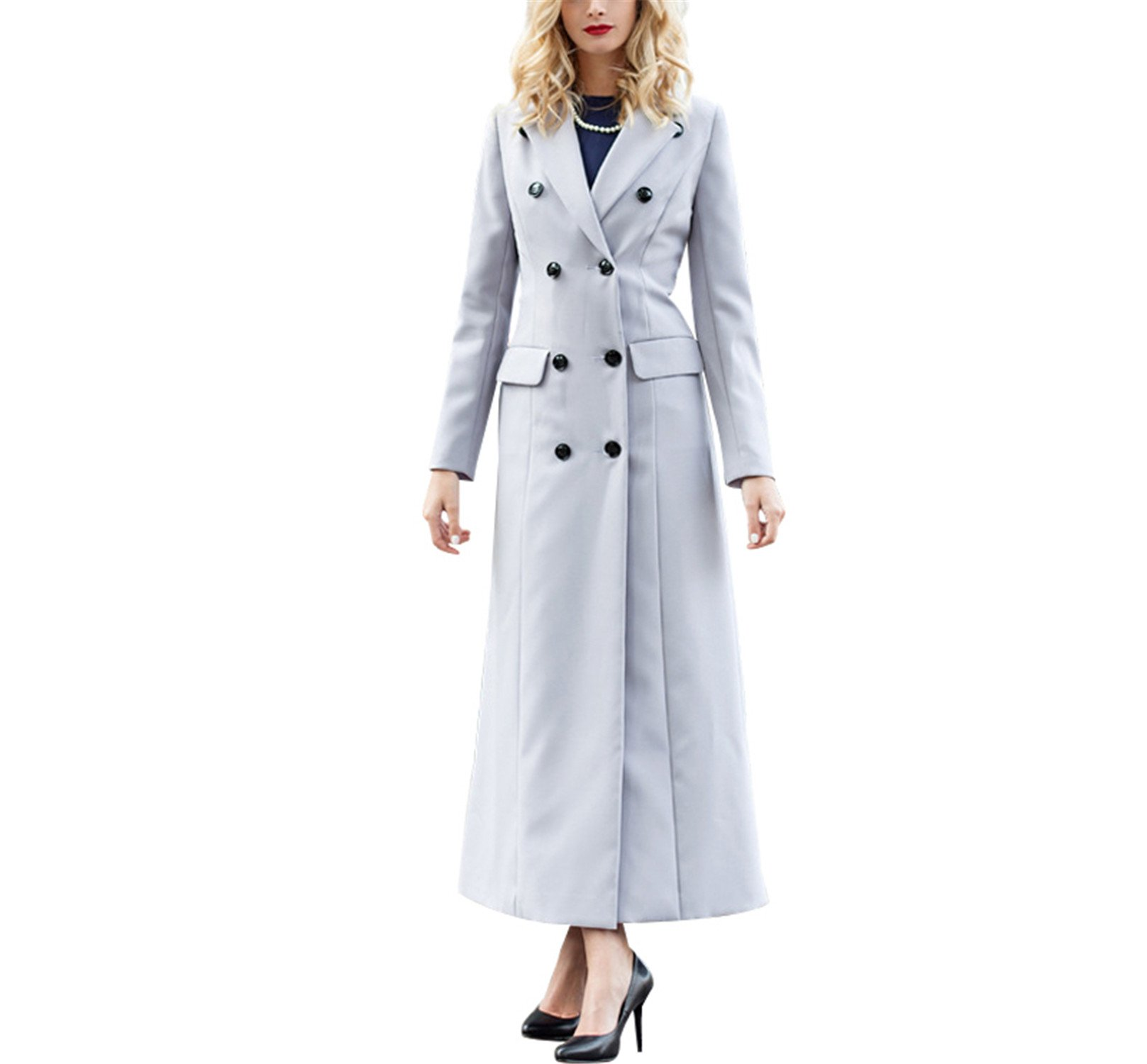Processes OL British Style Spring Double Bressted Long Coat Women Buttons Turndown Collar Full Length Overcoat 5783A