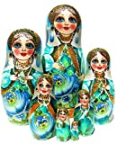 9'' Tall Czarevna Princess 7 Piece Russian Nesting Doll Toy Original Work Of Art - GreatRussianGifts Exclusive Babushka