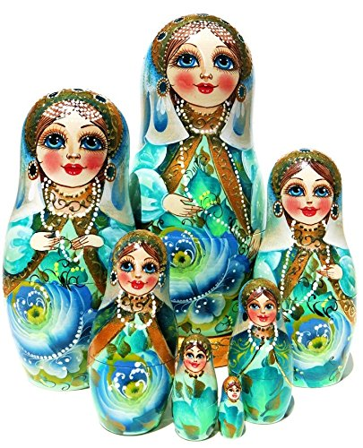 9'' Tall Czarevna Princess 7 Piece Russian Nesting Doll Toy Original Work Of Art - GreatRussianGifts Exclusive Babushka by GreatRussianGifts