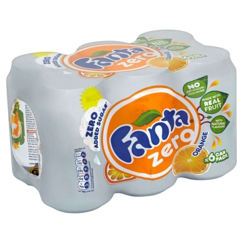 Fanta Orange Zero Added Sugar (6x330ml) - Pack of 2