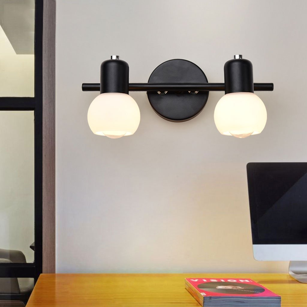 ZDD Retro Schmiedeeisen Wand Lampe LED Spiegel Lampe Schlafzimmer Schreibtisch Badezimmer Lampe (Farbe   SCHWARZ-D30cmH13cm)