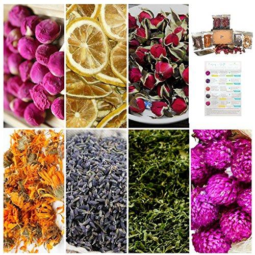 7 Packs All Natural Dried flower for Soap Making, Resin, Bath Bomb - Lavender, Wild Rose Bud, Lemon and More with Bonus e-Guides. Enchanted Set (Globe Resin)