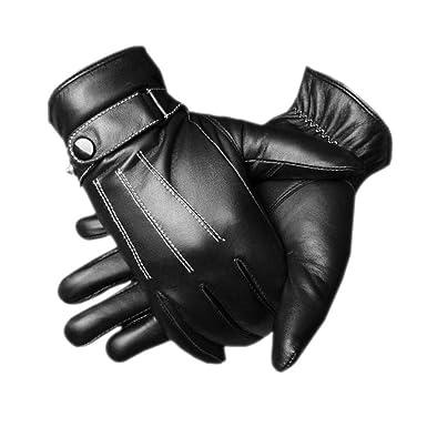 cb325f9a96af4 CASF Men's Warm Lambskin Genuine Leather Gloves For Men Winter Driving  Black S