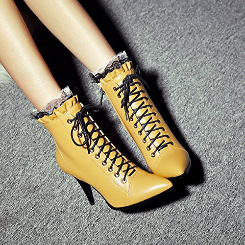 Dentelle Chaussures Dames yellow Talons Bottes Dentelle Bottes Bottes Cuir Nouveau Femmes Martin Bottes À Fine Femmes Et Bottes Talons En GTYW À Pour Martin Hiver Automne BxqZ4fZ