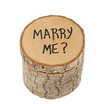 Kingwin MARRY ME - Estuche de madera para anillos de boda ...