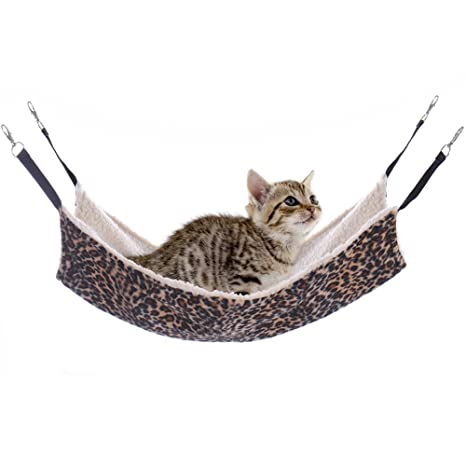 Large Leopard Cat Hammock Fur Animal Hanging Cat Bed Cage Comforter Ferret Pet by Molie