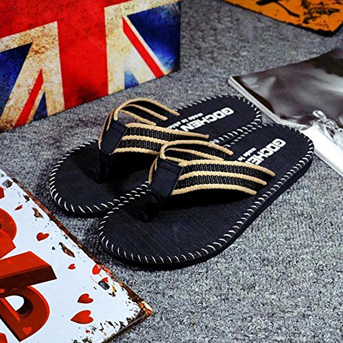 Summer Slippers, FTXJ Mens Stripe Flip Flops Flat Indoor/Outdoor Beach Shoes Black