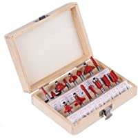 Yakamoz 15 Pieces 1/4 Inch Shank Tungsten Carbide Router Bit Set Woodworking Cutter Trimming Milling Bits Tool Kit