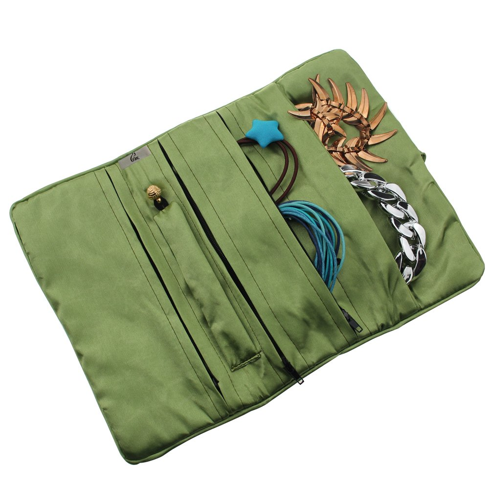 Gracallet/® Light Green Soft Silk Embroidery Brocade Peony Floral Print Fabric Jewelry Roll Travel Organizer