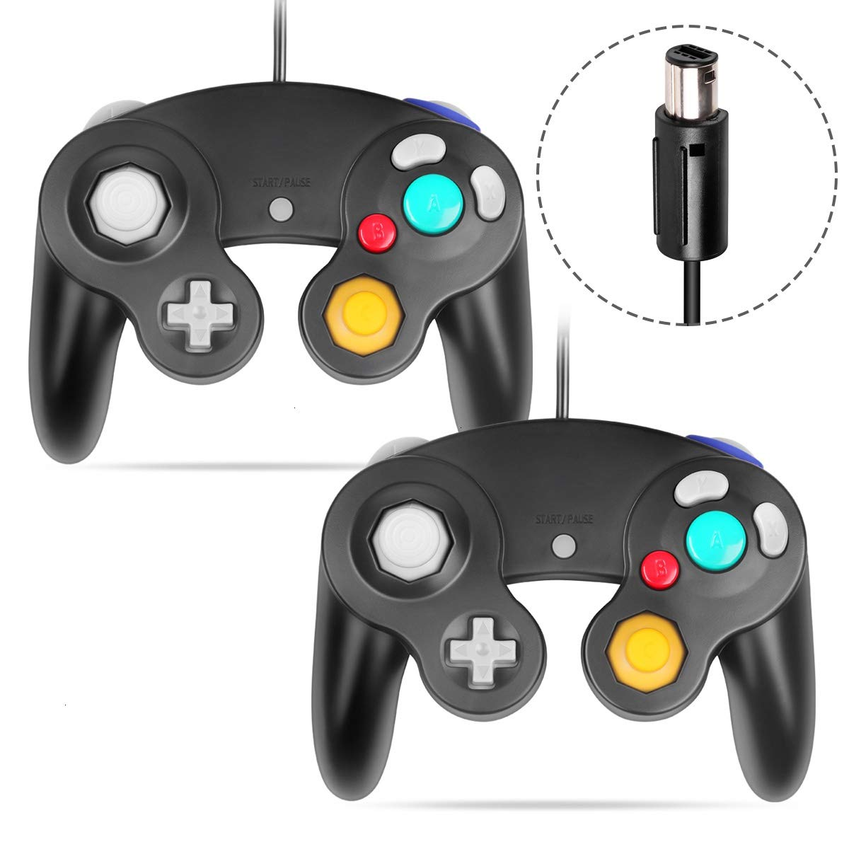 VOYEE Gamecube Controller - 2 Pack Classic Wired Controllers Compatible with Wii Nintendo Gamecube (Black)