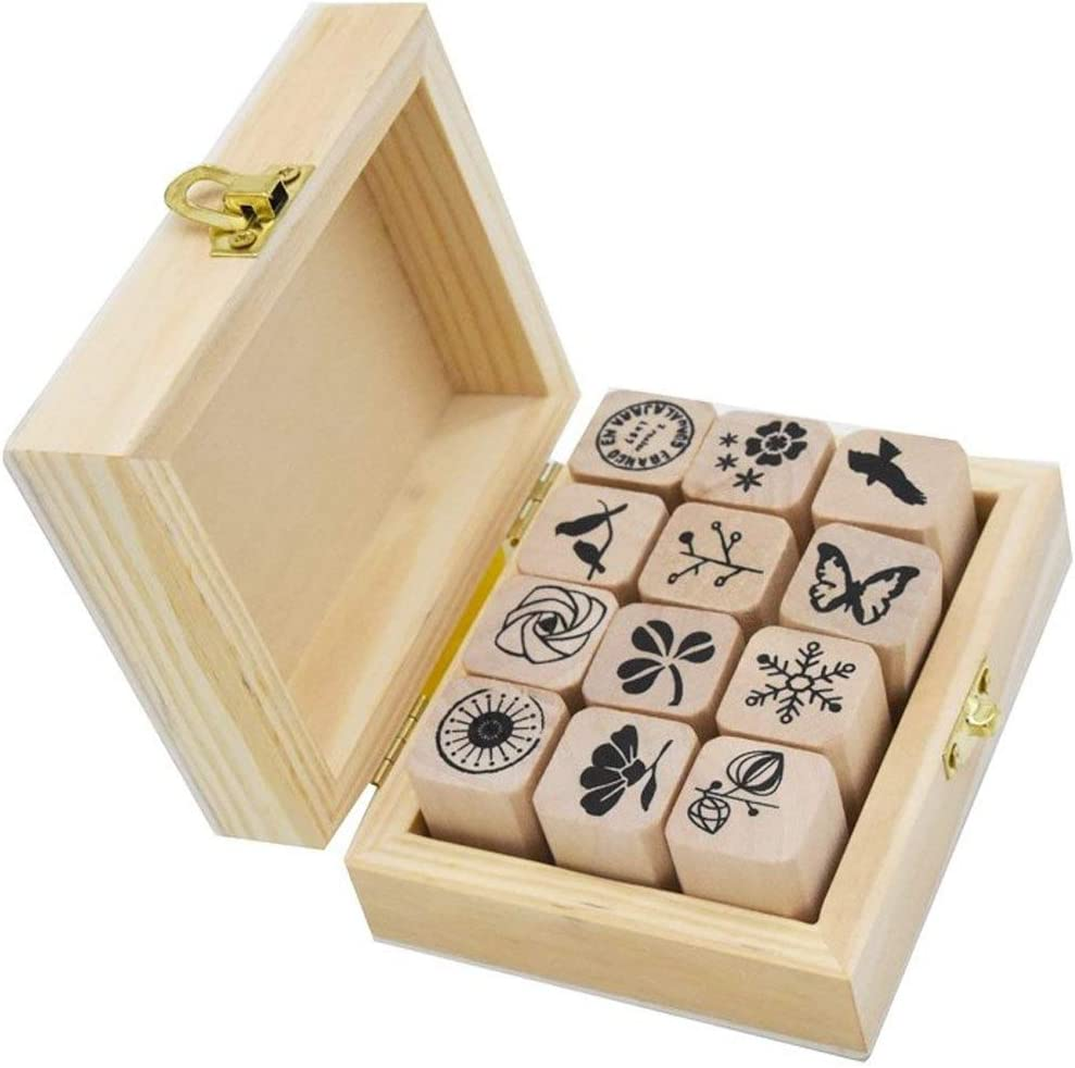 12 Pcs Wooden Rubber Stamps Mini Cute DIY Diary Stamps Set with Wooden Box