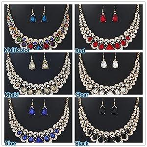 ManxiVoo Wedding Jewelry Set, Women's Bohemia Bib Chain Necklace Earrings Set