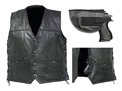 Mens Black Leather Concealed Carry Vest Gun Holster Ccw Motorcycle Biker