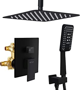 Esnbia 10 Inch Ceiling Mount Matte Black Shower System Bathroom Luxury Rain Mixer Shower Combo Set Ceiling Rainfall Shower Head System (Rough in Shower Faucet Vlave Include)