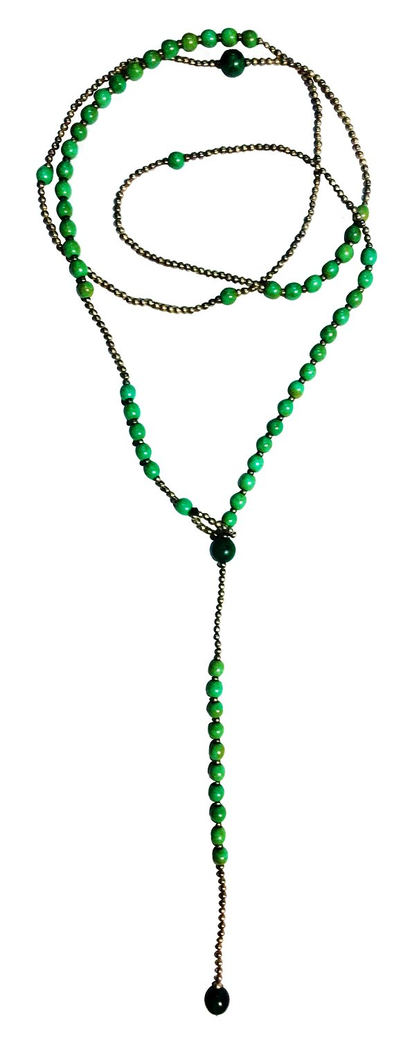 Bijoux De Ja Simulated Green-Turquoise Howlite Beads Y-Necklace 34 Inches