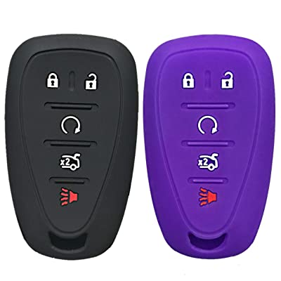 KOSMIQ Chevy Smart Key Fob Cover Case Shell Holder Jacket 5 Buttons Fit for Silverado Chevrolet 2020 2020 2020 Colorado Malibu Camaro Cruze Trax Traverse Sonic Volt Equinox Spark 2Pcs(Black+Purple): Sports & Outdoors