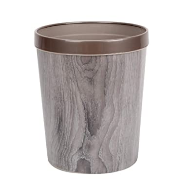 WOLFBUSH 12L Trash Can Durable Garbage Can Waste Basket with Wood-Grain European Style Wastebin for Bathroom, Bedroom, Office (Silver Grey)