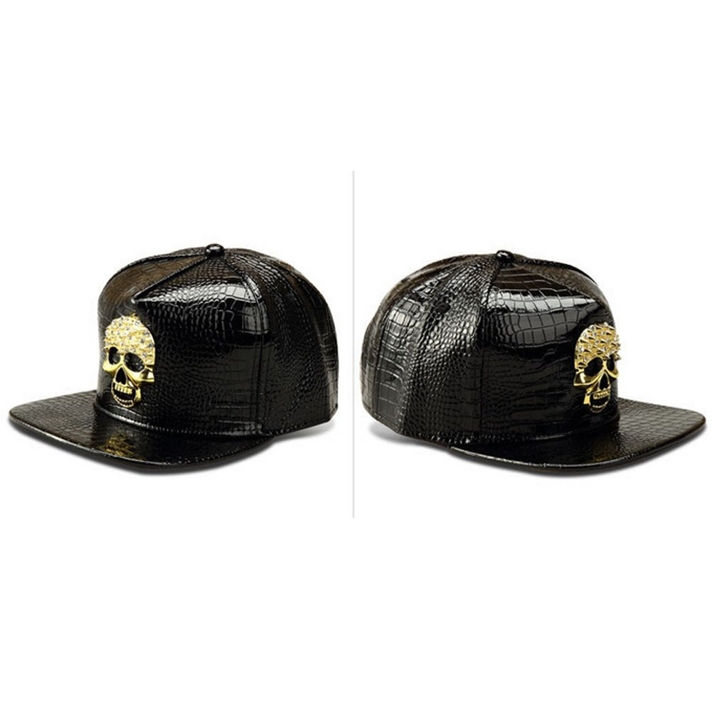 f059e68b8e6 LEEYA Fabric Skull Tide Crocodile Baseball Hip Hop Cap (Black)  Amazon.in   Clothing   Accessories