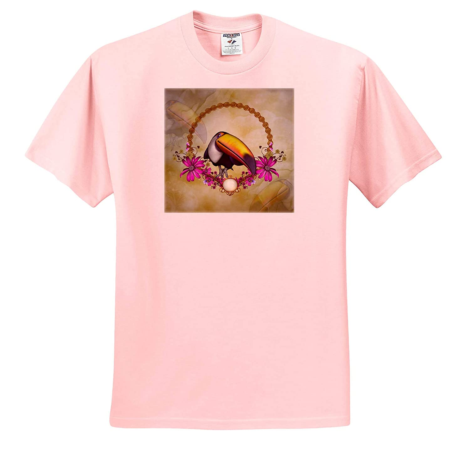 Funny Toucan with Flowers Adult T-Shirt XL 3dRose Heike K/öhnen Design Animal ts/_310255