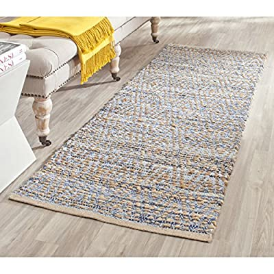 "Safavieh Cape Cod Collection CAP351A Hand Woven Flatweave Geometric Diamond Natural and Blue Jute Runner (2'3"" x 10') - Natural jute is used to make this everyday rug Each rug is handmade and handwoven to add style and durability This rug features a traditional woven pattern - runner-rugs, entryway-furniture-decor, entryway-laundry-room - 61aTUMuUqrL. SS400  -"