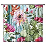 green living room ideas  Cactus Theme Room Darkening Curtains for Living Room Bedroom, Green Cactus Colorful Red Pink Flowers Bloom Picture 2 Panel Print Curtain