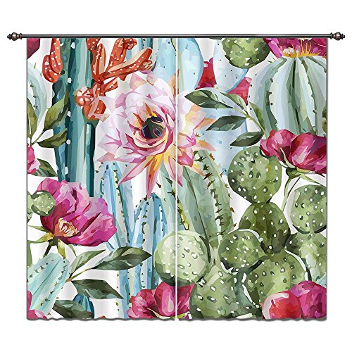 Cactus Theme Room Darkening Curtains for Living Room Bedroom, Green Cactus Colorful Red Pink Flowers Bloom Picture 2 Panel Print Curtain