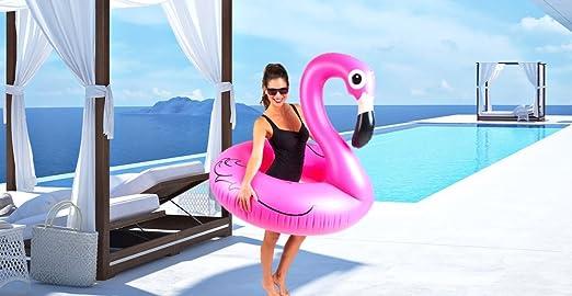 Cute Inflatables Tumbona Flotador Flamenco Hinchable | ¡Gran Accesorio Divertido para la Piscina, la Playa o una Fiesta de Verano! |
