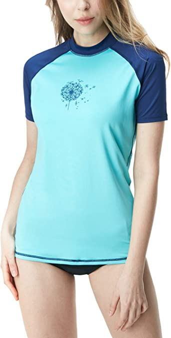 UV//SPF Surf Swim Shirts TSLA Womens UPF 50 Rash Guard Short Sleeve Water Beach Swimsuit Top