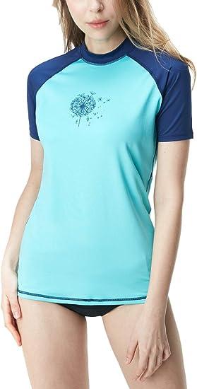 Youth Kids Rash Guard Short Sleeve Aqua Water Swimsuit Top TSLA UPF 50 UV//SPF Surf Swim Shirt
