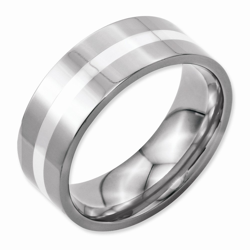Stainless Steel Sterling Silver Inlay Flat 8mm Polished Band Best Quality Free Gift Box