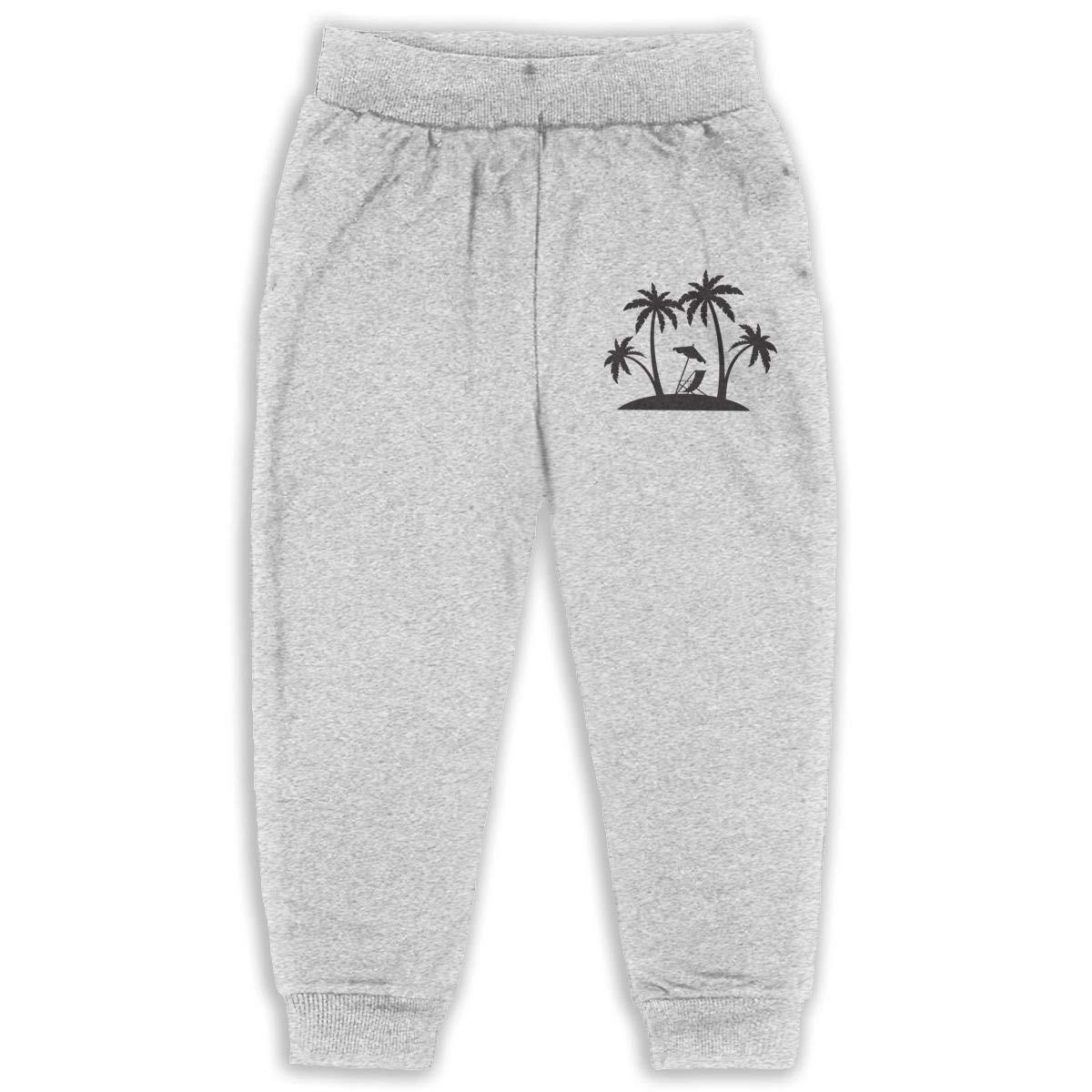 Beach Hut Art Silhouette Children Cartoon Cotton Sweatpants Sport Jogger Elastic Pants
