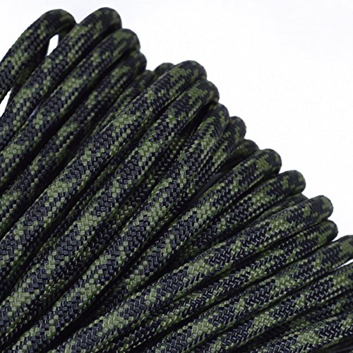 BoredParacord - 1', 10', 25', 50', 100' Hanks & 250', 1000' Spools of Parachute 550 Cord Type III 7 Strand Paracord WELL Over 300 Colors - Olive Drab & Moss Camo - 25 Feet (550 Lb Olive Drab)