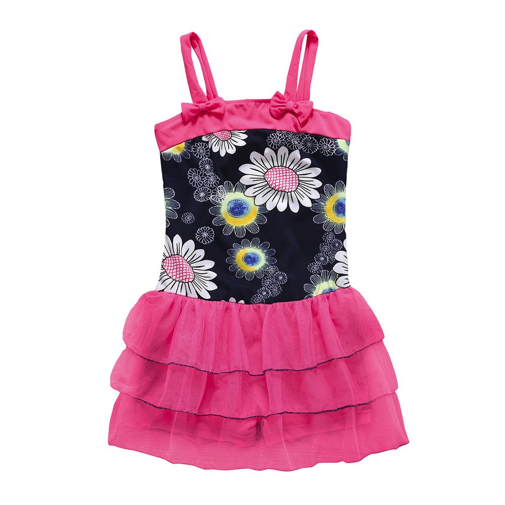 Bañador para Bebés Niñas Impresión de Flores Bowknot Traje de Baño una Pieza Verano Bikini Bebé Lonshell