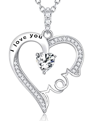 Mothers Day Gifts Jewelry I Love You Mom Pendant Necklace Sterling Silver