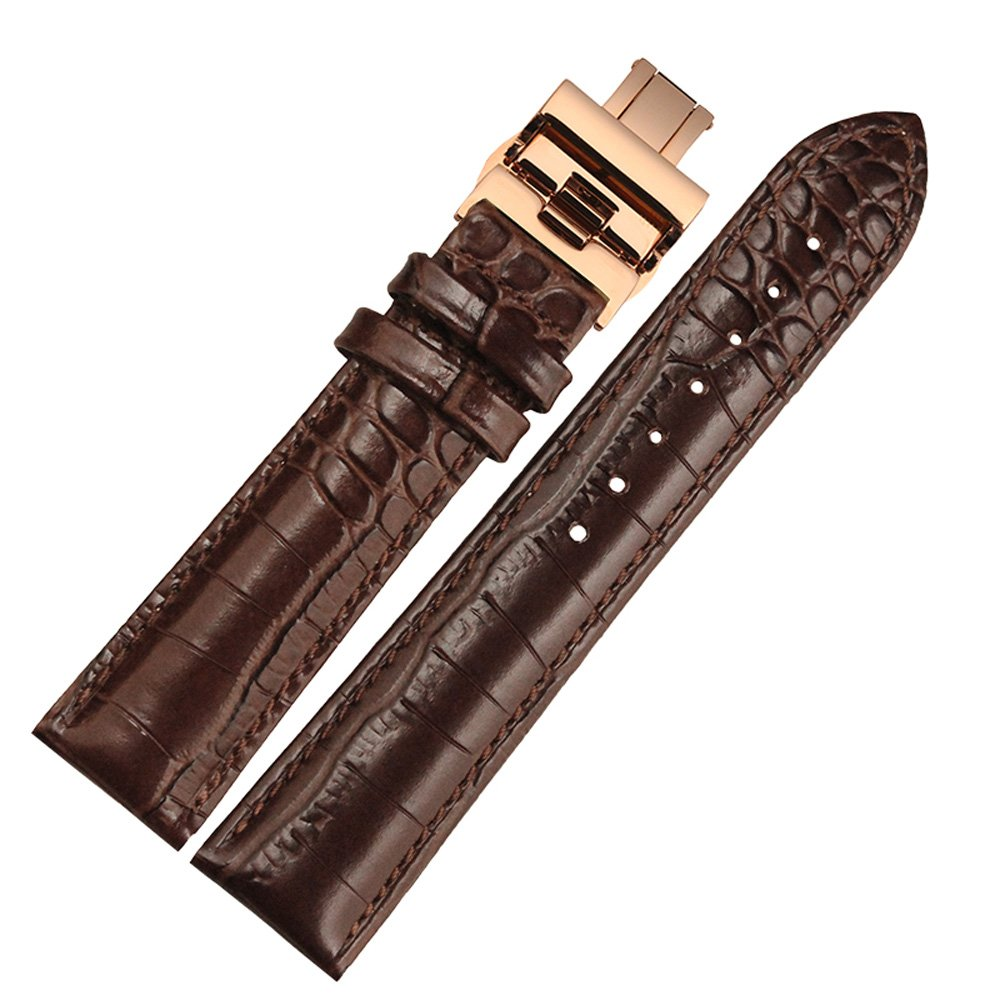 MSTRE np01 18 mm / 20 mm / 22 mmバンドレディースとメンズwithローズゴールドバタフライバックルカーフスキンWatchstrap 18mm rbrown 18mm|rbrown rbrown 18mm B07125G1HW