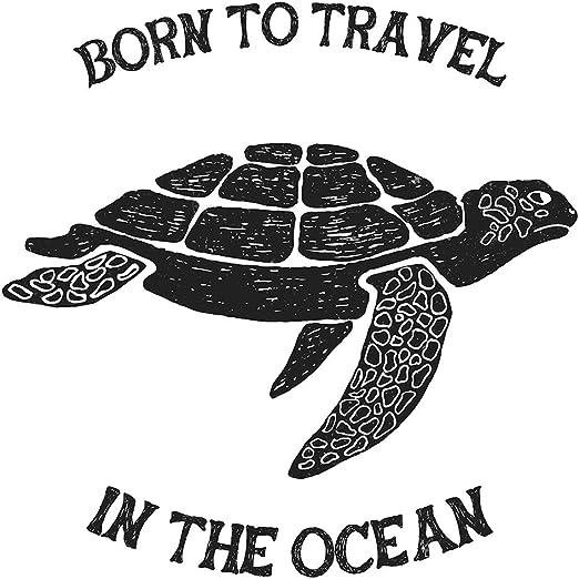 Pegatina de pared Salón Tortuga con letras oceánicas Motivo animal ...