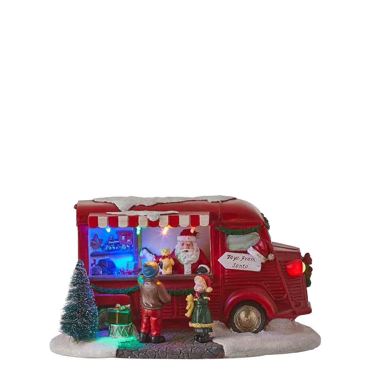 Luville Miniatur Weihnachtsmann im Spielzeugstand, verpackt in luxuriöser Geschenkbox - mit Beleuchtung – Schön als Weihnachtsdeko oder als Weihnachtsgeschenk