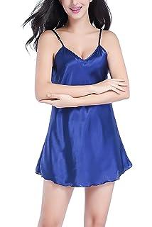 Dolamen Camisón para mujer, Mujer Corto Camisones raso Satin Pijamas, lencería Spaghetti Strap Babydoll