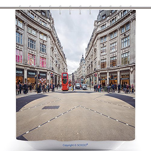 vanfan-Cool Shower Curtains London Nov View Of Oxford Street On November In London Oxford Street Is A Major Road Polyester Bathroom Shower Curtain Set With Hooks(70 x 92 - Loop Street Oxford