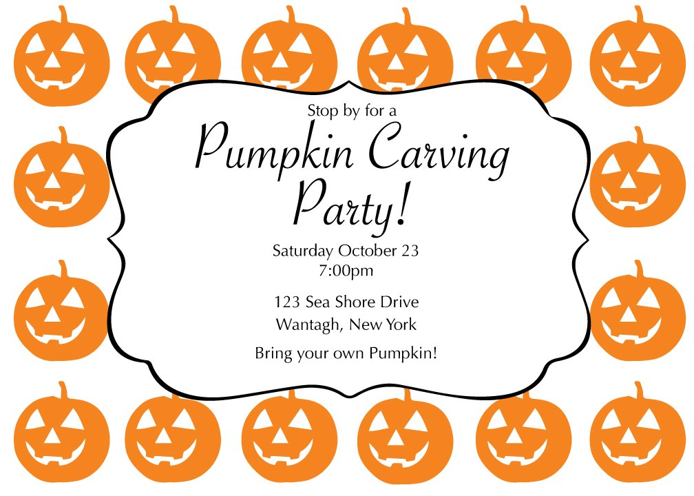 75 Pumpkin Carving Party Halloween Cards with Envelopes
