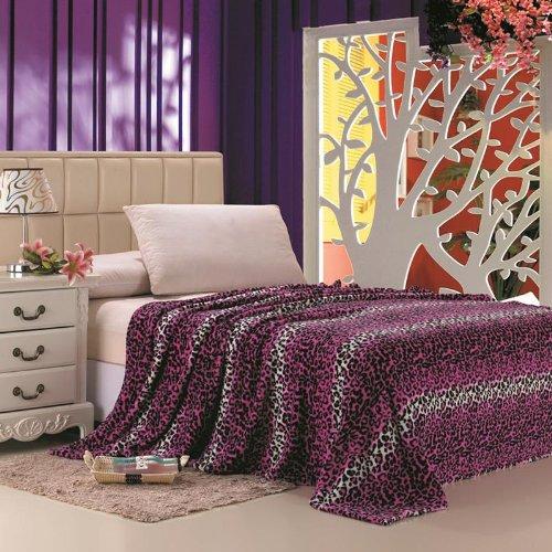 Plazatex Animal Prints MicroPlush Leopard King Blanket Pink & Black